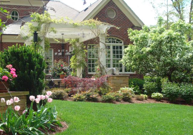 backyard garden design traditional landscape raleigh