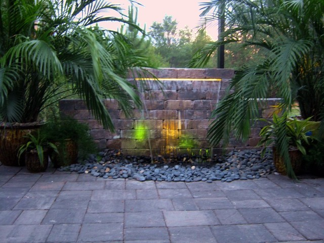 Backyard Getaway Water Features Eclectic Landscape