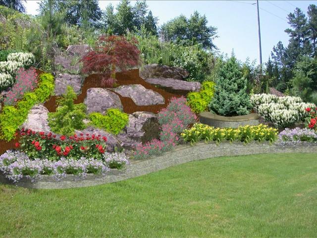 Backyard Hillside Traditional Landscape