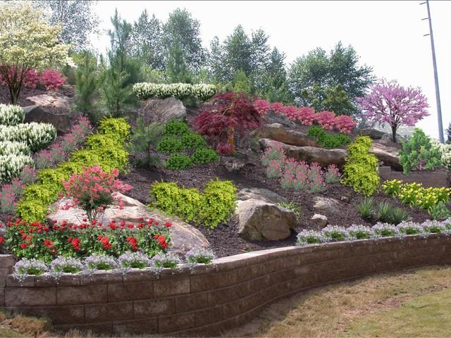 Backyard hillside tamed for Slope landscape design