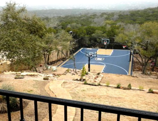 Backyard home basketball court for all sports for At home basketball court