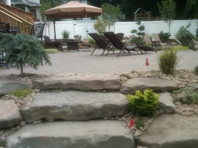 backyard landscape firepitwaterfalltiered patios poo