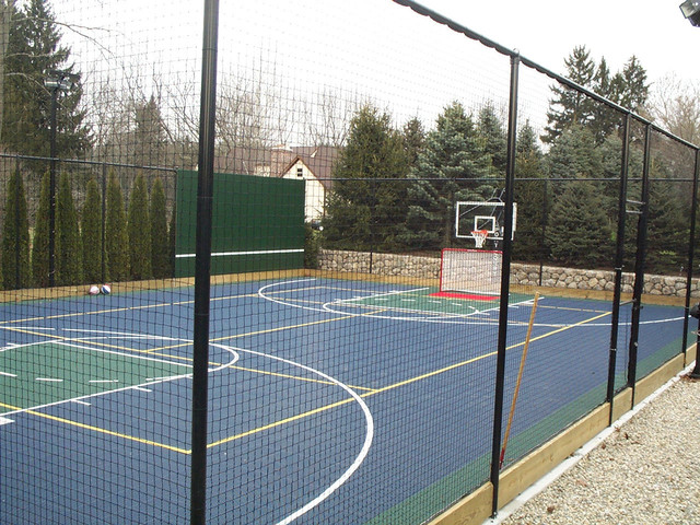 Backyard Multi Sport Game Court Traditional Landscape