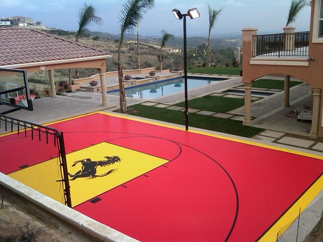 Backyard Multi Sport Home Basketball Court Contemporary