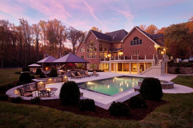 Backyard Oasis Pool Kitchen Fireplace Contemporary Landscape