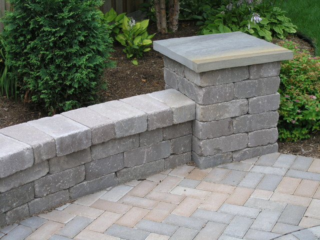 Backyard patio seat wall and pillars landscape other for Landscape pillar lighting