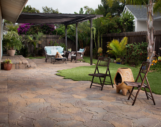 backyard patio transformation with pavers artificial grass in san