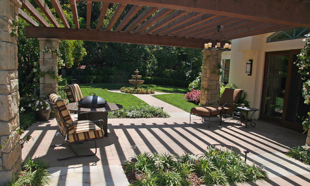 Floor lamps in living room - Backyard Pergola Garden Room Mediterranean Landscape
