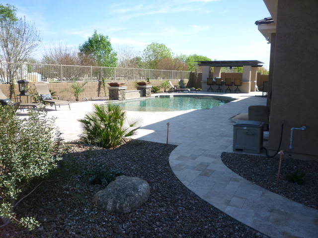 Backyard pool area traditional landscape phoenix for Area landscape architects