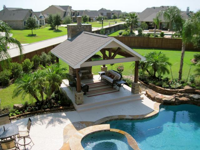 Backyard pool landscape beach style landscape for Pool design houston tx
