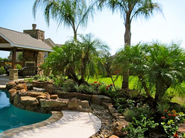 Backyard pool landscape - Tropical - Landscape - Houston ... on Tropical Backyard Ideas With Pool id=92052