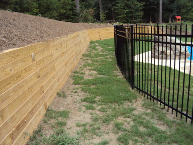 backyard pool pressure treated timber retaining wall traditional landscape - Timber Retaining Wall Designs
