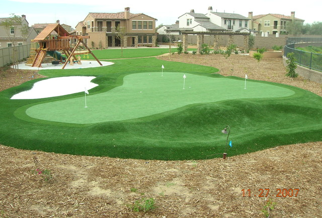 Backyard Putting Greens Contemporary Landscape