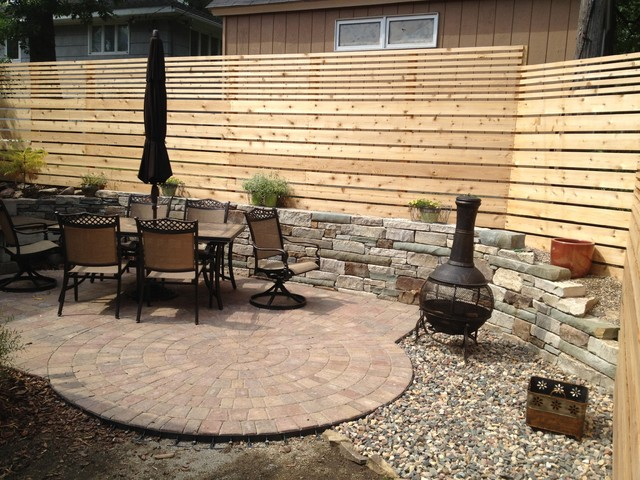 Backyard Wall And Brick Paver Patio Space In Minneapolis - brick wall patio designs small home