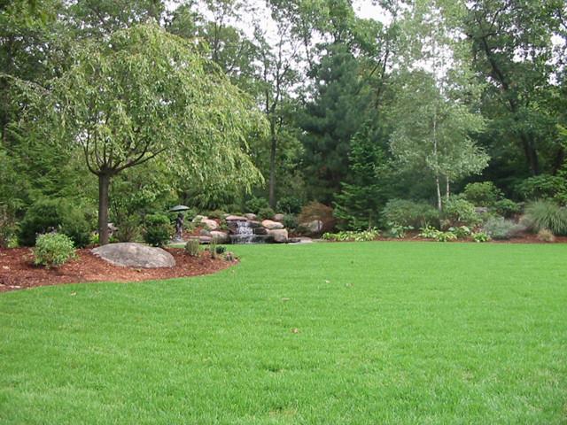 Backyard waterfall traditional landscape boston by