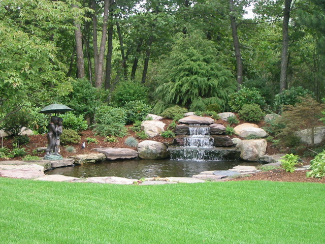 Backyard waterfall traditional landscape boston by for Home garden waterfall design