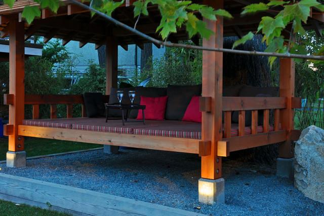 Outdoor garden furniture patio furniture pagoda - Bale Pergola Asian Landscape Vancouver By Phi Ventures Ltd