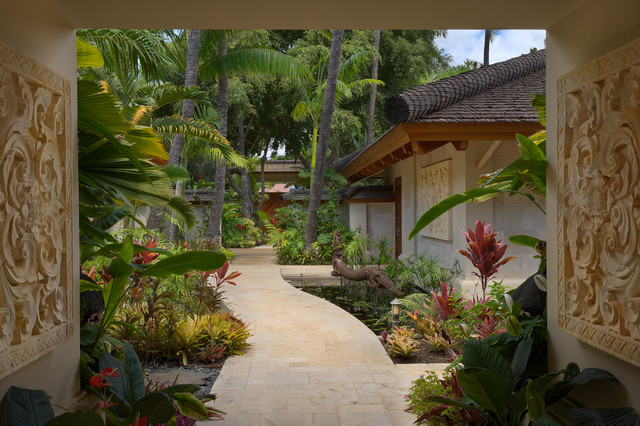 Bali house tropical landscape hawaii by rick for Tropical home garden design
