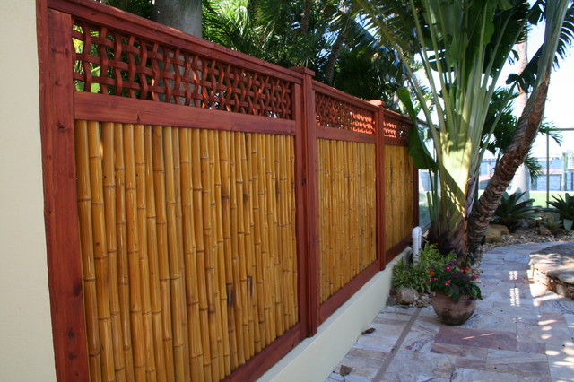 Bamboo Gate With Fencing Tropical Landscape Tampa
