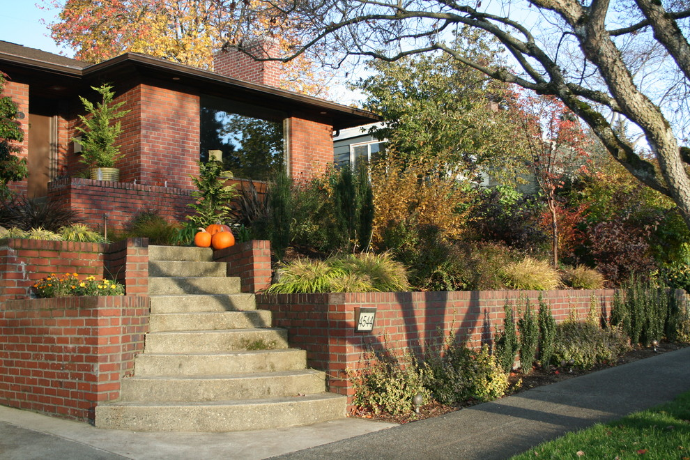 Photo of a contemporary front yard landscaping in Seattle.