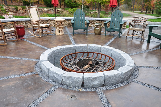 This is an example of a traditional landscaping. - Barn Fire Pit Terrace - Traditional - Landscape - By The Collins