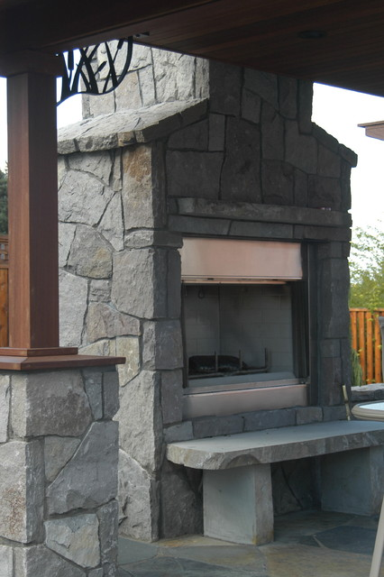 Basalt Outdoor Fireplace Traditional Landscape