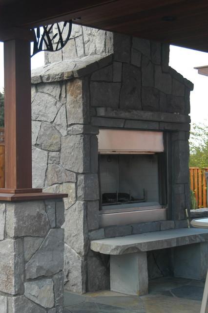 Basalt Outdoor Fireplace - Traditional - Garden - Portland - by ...