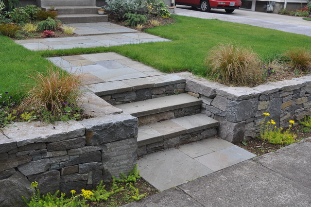 Basalt Retaining Wall, Bluestone Stairs + Path Traditional Garden