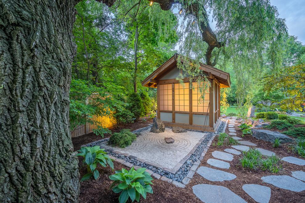 Inspiration for a large asian partial sun backyard stone garden path in Milwaukee.