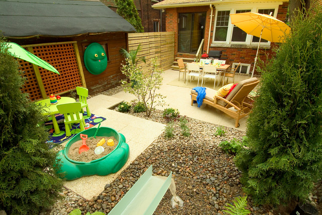 photo of an eclectic backyard water fountain landscape in toronto - Backyard Garden Ideas For Kids