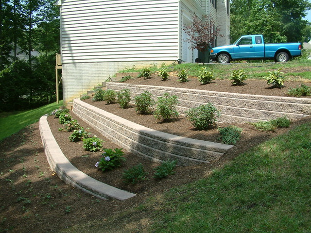 Before & After - Retaining Wall - Huntingtown, MD - Contemporary - Landscape - other metro - by ...