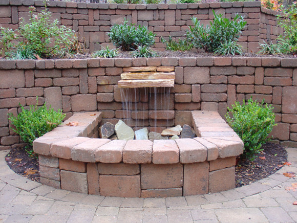Belgard Pondless Waterfall With Tiered Wall Contemporary