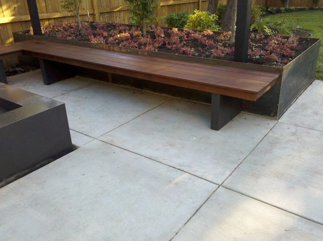 Bench Fire Element Planter And Overhead