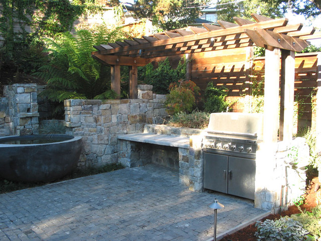 berkeley garden pools patio outdoor kitchen and deck contemporary landscape - Garden Kitchen