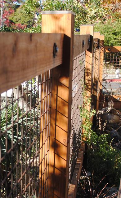Berkeley Redwood and Welded Wire Mesh Fence - Craftsman - Landscape ...