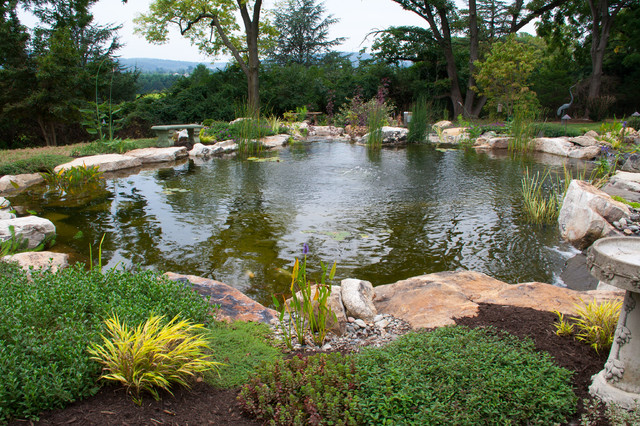 Berks county pa pond waterfalls traditional for Landscaping around koi pond