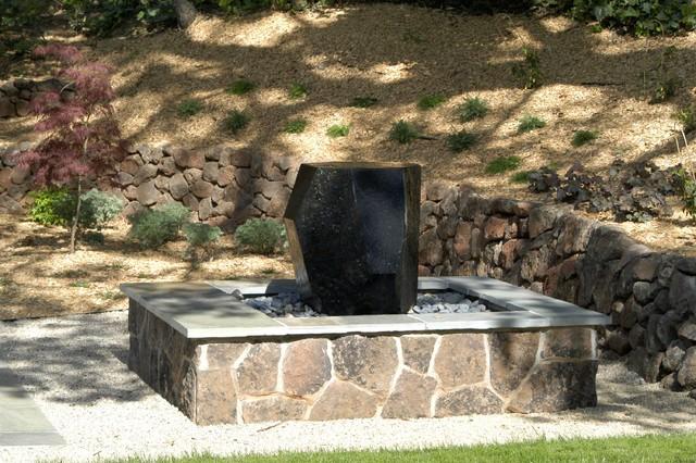 Black granite fountain and stone reservoir contemporary for Black granite landscape rock