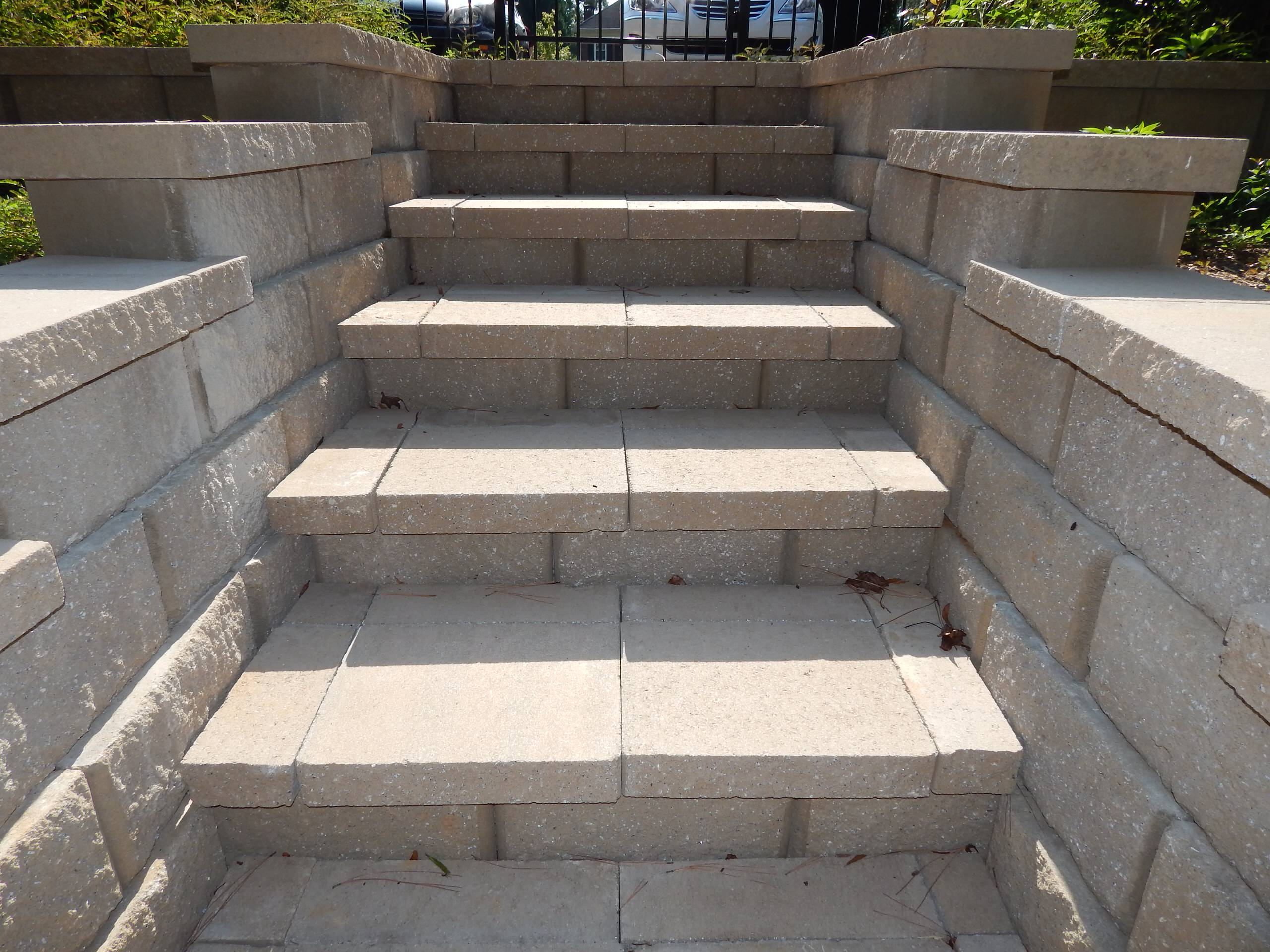 Block stairs and retaining wall