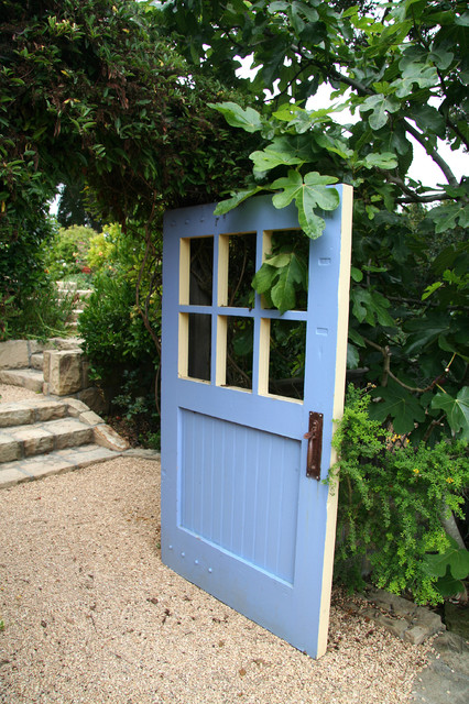 Blue Door to Orchard Area traditional-landscape