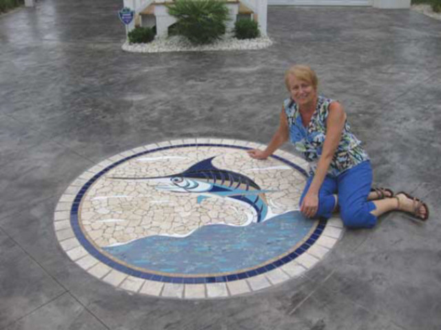 Blue Marlin Mosaic Tile Accent For Driveway Tropical
