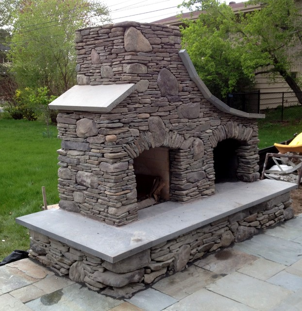 Bluestone and Field stone Fireplace in Edina