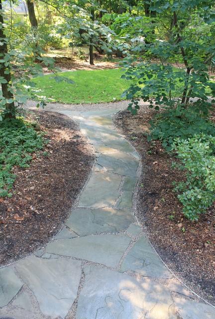 Bluestone flagstone walkway shady park entrance rustic for Landscaping rocks grand rapids