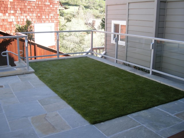 Bluestone Patio with Synthetic Play Turf traditional-landscape