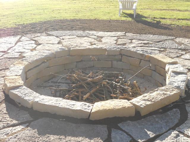 Bob's Grading Lannon stone fire pit landscape