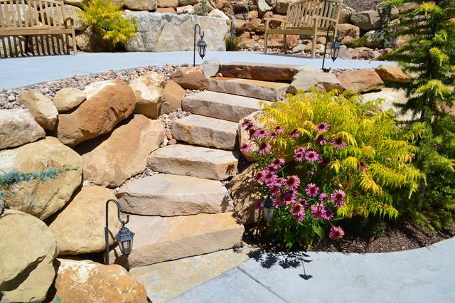 Boulder mountain stone steps traditional landscape for Landscaping rocks in salt lake city