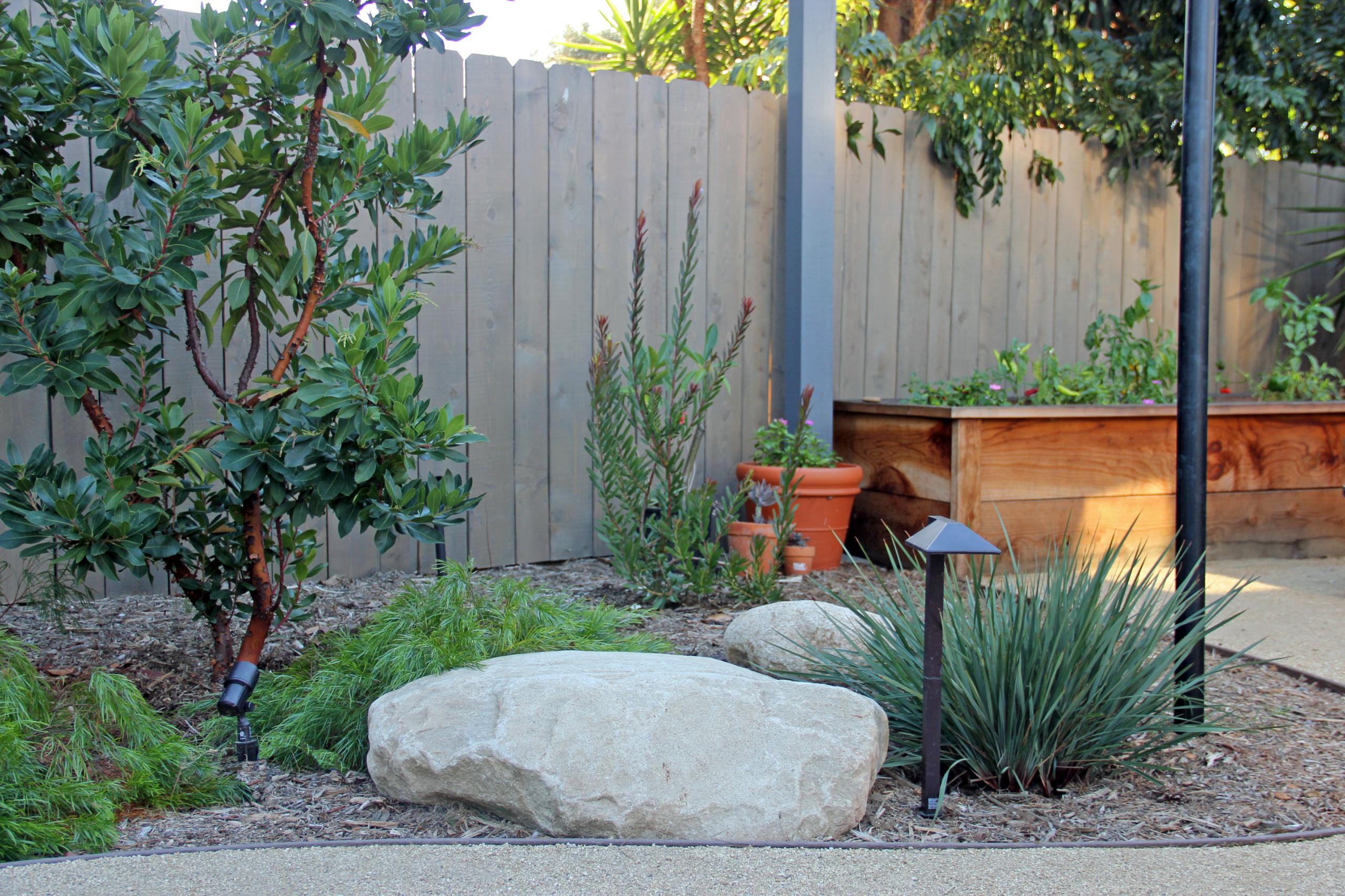 Boulder on Pathway to Vegetable Garden