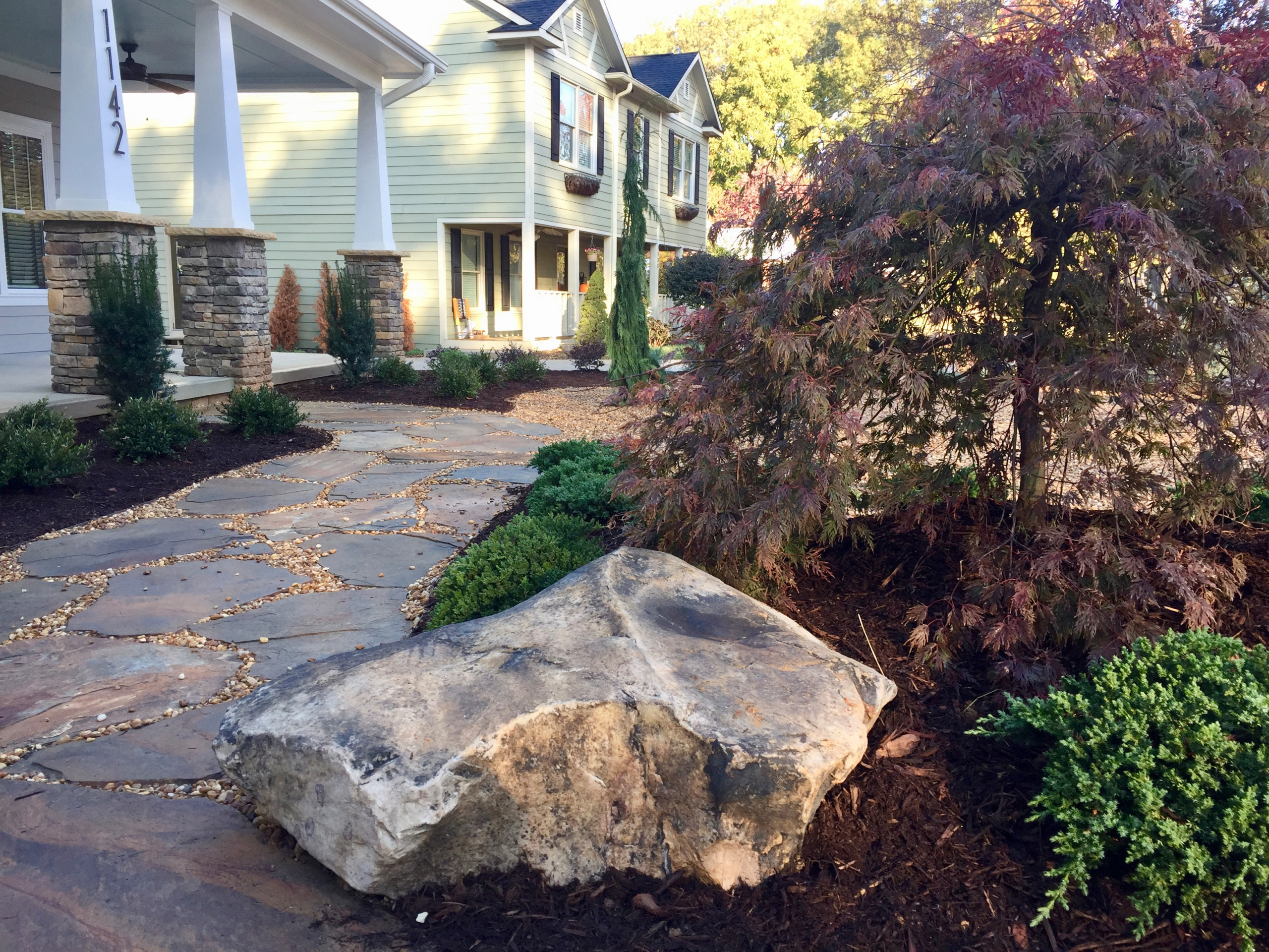 Boulders and Japanese maple