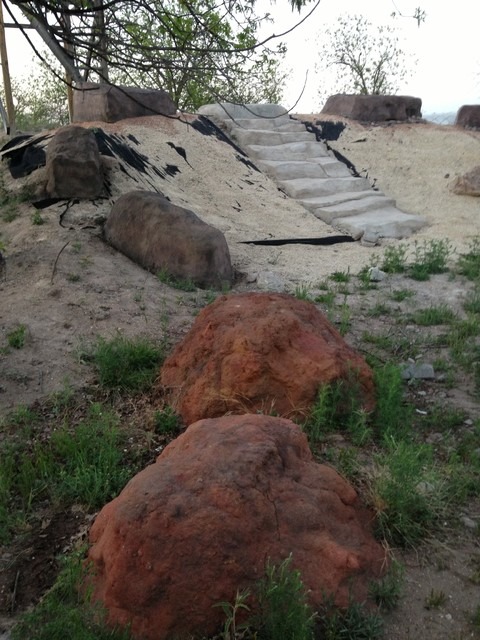 boulders and rocks rustic landscape dallas by