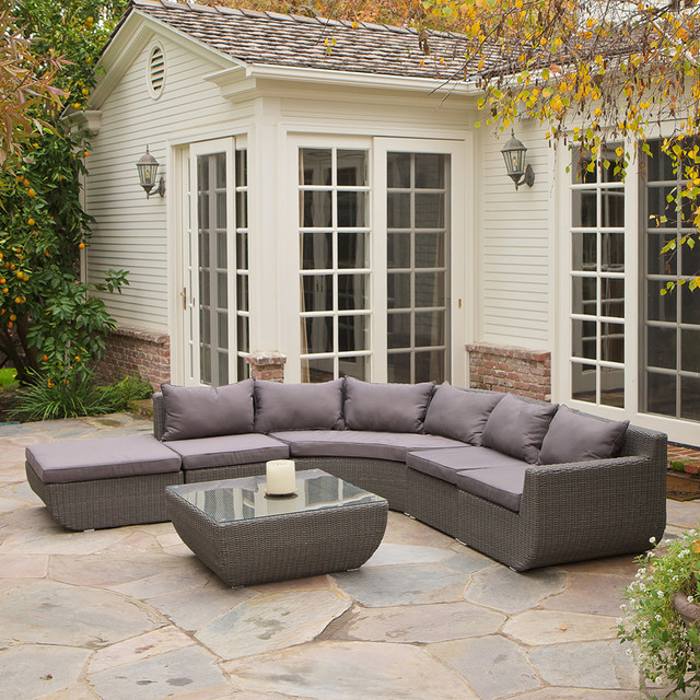 Brentwood 7 piece outdoor sectional set modern for Great deals on outdoor furniture