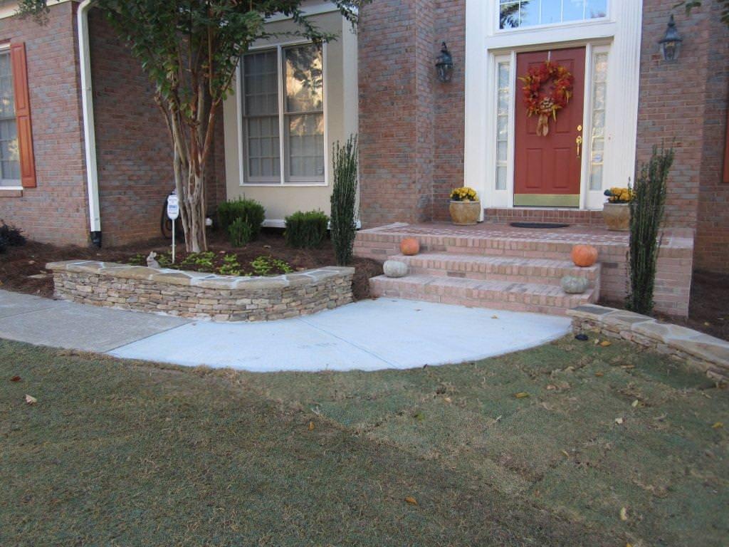 Brick patio and stairs, stone retaining walls